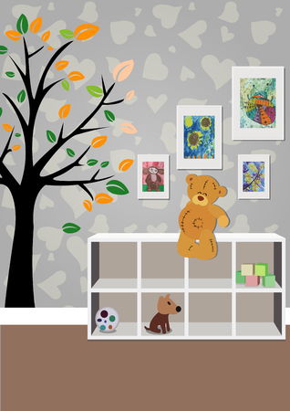 The interior of the childrens room with furniture, toys, childrens drawings. Illustration of a childrens room.