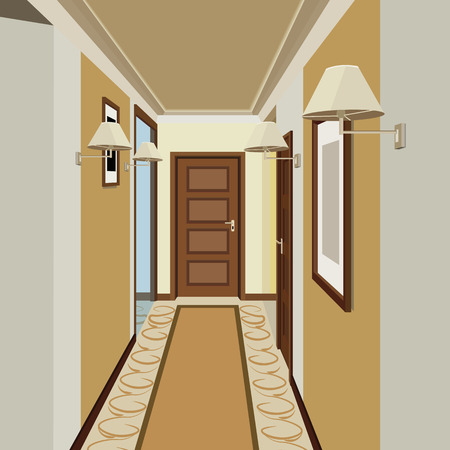 Interior of an internal corridor with a staircase. Design of an old corridor. Hallway illustration.