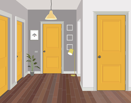 Illustration of a room with yellow doors. Interior of the room with furniture. Illustration hallway.