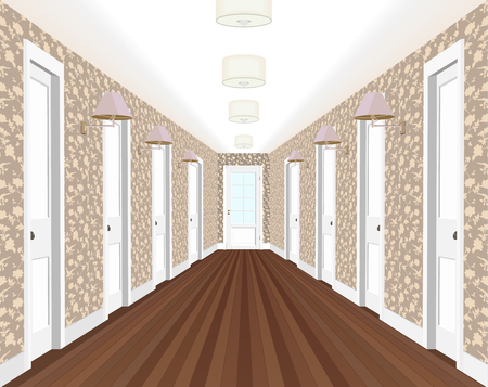 Long corridor with rows of closed doors. Concept of infinite opportunities for success and toughness of choice. 3d rendering.