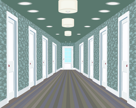 Long corridor with rows of closed doors. Concept of an infinite opportunity for success and toughness of choice. 3d rendering.