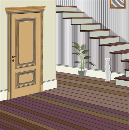 Vintage interior of the hallway with a staircase. Design of modern hallway. Symbol furniture, hallway illustration 向量圖像