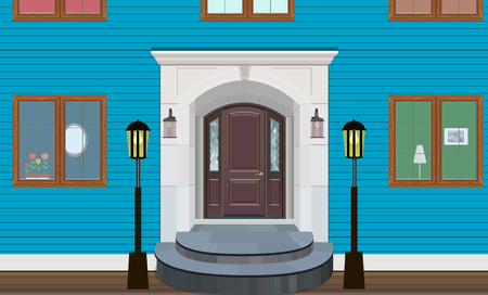 Illustration of the entrance door of a country house in the interior. Illustration