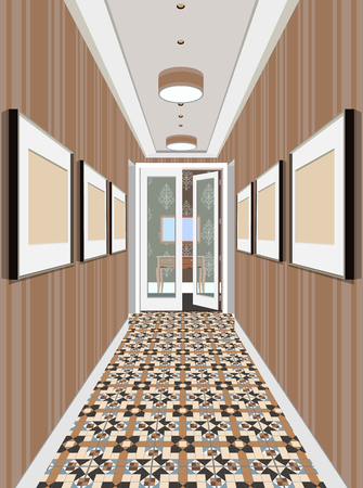 Modern Classic Hall Hallway Corridor In Old Vintage Apartment. Hallway illustration. Illustration