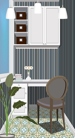 Balcony interior background with furniture. Design of modern balcony. Balcony illustration