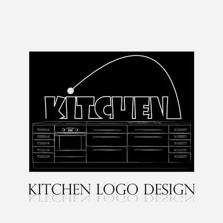 Kitchen logo design on a black background. Kitchen illustration. Symbol furniture