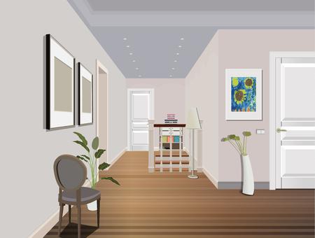 Interior vintage del pasillo con una escalera. Diseño de pasillo moderno. Ilustración de pasillo Ilustración de vector
