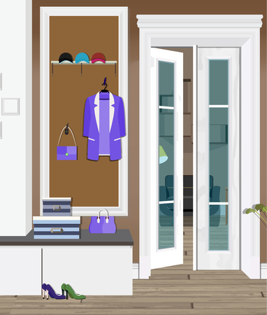 Illustration of an interior of a dressing room with clothes and an entrance door. Design of modern dressing room.