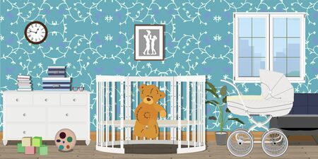 Baby room interior. Flat design. Baby room with a commode, toys, pram, window, baby cot. Childrens room. Stockfoto - 127953895