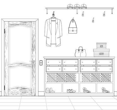 Sketch of the hallway. Plan a hallway. Illustration of a modern sketch of a hallway.