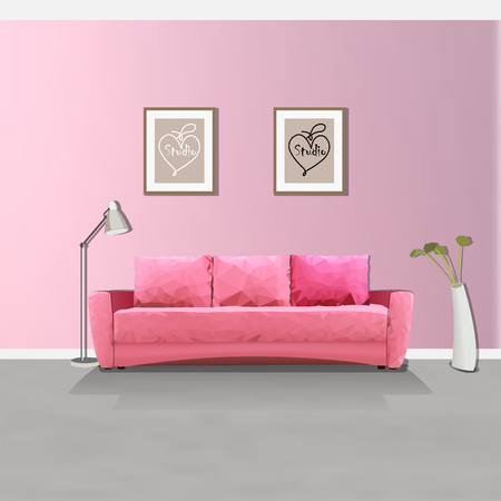 Illustration of a pink sofa in the interior. Polygon triangle.