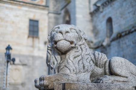 stone lion: Stone lion guarding the Gothic cathedral of Avila