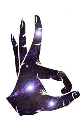 ok hand: Ok hand sign galaxcy vector Illustration
