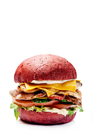 American burgers from black, red bread. With meat patty, cheddar cheese, lettuce, tomato and sous, burgers on a white background. Vegan burger with avocado. Isolates the image for the menu.