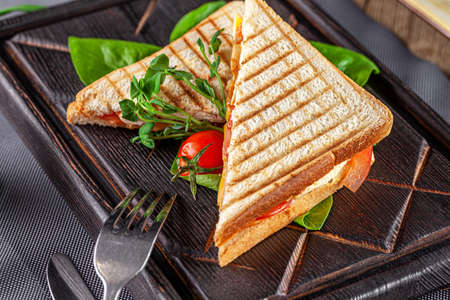 European cuisine. Homemade sandwich or bread toast with chicken, tomatoes and cheese. Beautiful serving dish in a restaurant in a white plate. background image, copy space text Stok Fotoğraf