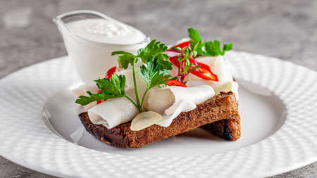 Ukrainian cuisine in the European style. Salted fat on black bread Snack for borscht soup. Beautiful serving dish in a restaurant on a white plate. background image copy space text