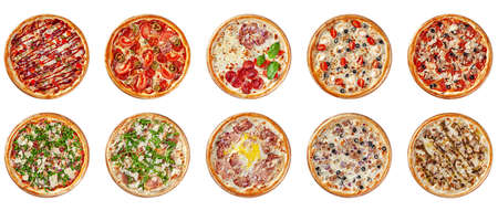 Italian cuisine. Round thin pizza on a wooden board, on a white background. Image is isolated. Top view. Stok Fotoğraf