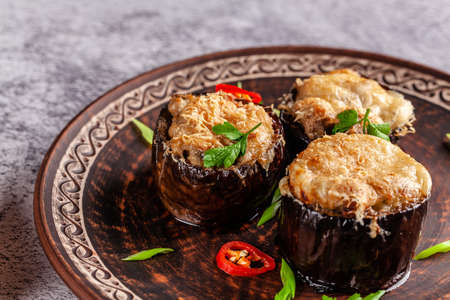Arabian cuisine. Turkish eggplant dish with chicken and cheese. Background image. copy space