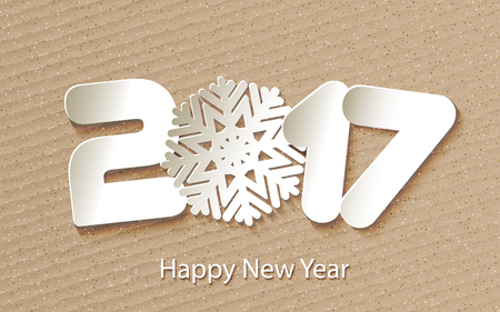 postcard: Happy New Year 2017 background with paper cuttings. Vector Illustration