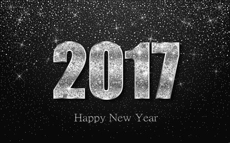 shiny argent: Happy New Year 2017. Background with silver sparkling texture. Vector Illustration Illustration