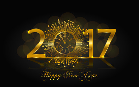 Happy New Year 2017. Background with golden sparkling texture. Vector illustration with gold clock