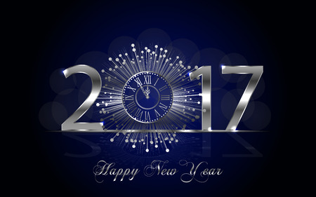 shiny argent: Happy New Year 2017. Background with silver sparkling texture. Vector iIlustration with clock.
