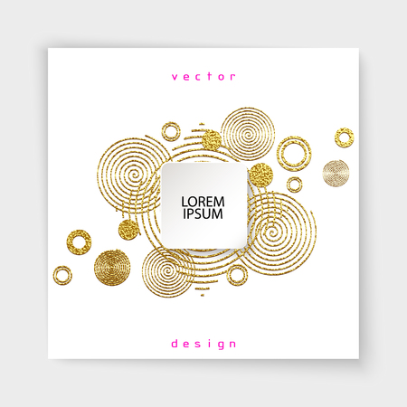 Abstract gold glitter geometric vector background. Trendy modern and stylish minimal design for poster, cover, card, broshure, banner. Cool pattern.  イラスト・ベクター素材