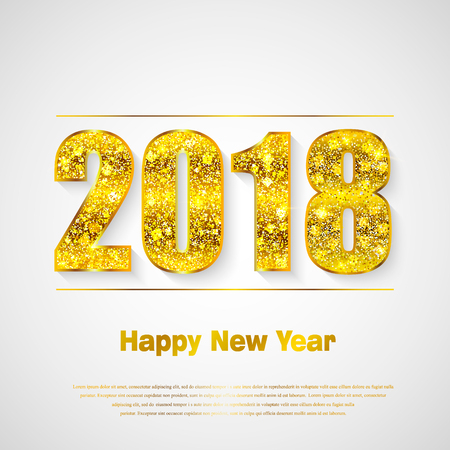 Happy New Year 2018. Background with golden sparkling texture. Gold Numbers 0, 1, 2, 8. Vector Illustration for holiday greeting card, invitation, calendar poster banner Vector Illustration