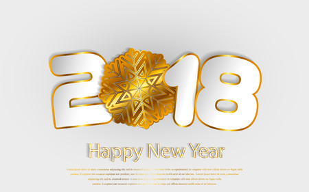 Happy New Year 2018 background with paper cuttings. Numbers 1, 2, 8 and snowflake cut from paper for holiday greeting card, invitation, calendar poster, banner. Vector Illustration with gold sparkling texture.