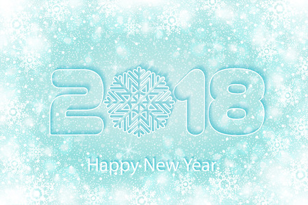 Happy New Year 2018 background with paper cuttings. Numbers 1, 2, 8 and snowflake cut from paper for holiday greeting card, invitation, calendar poster, banner. Vector Illustration .