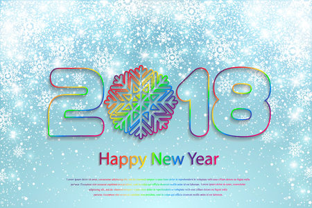 Happy New Year 2018 background with paper cuttings