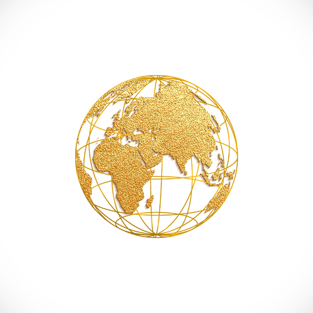 Creative gold map of the world. Vector illustration. Golden template design for media design and business infographic, website, design, cover, annual reports. Earth Graph World map. Ilustração