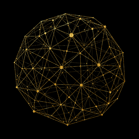 Abstract Gold world map consisting of points and lines, representing a global network connection, an international meaning, a sense of science and technology. Golden elements