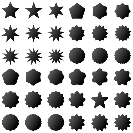 Collection retro stars shapes. Set rays design elements. Black sparkles. Best for sale sticker, price label, quality sign. Vintage postal stamps and postmarks