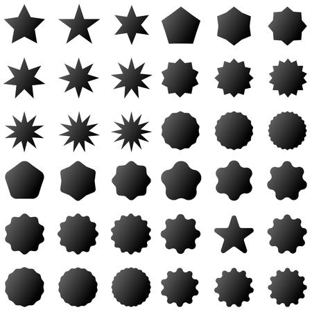 Collection retro stars shapes. Set rays design elements. Black sparkles. Best for sale sticker, price label, quality sign. Vintage postal stamps and postmarks