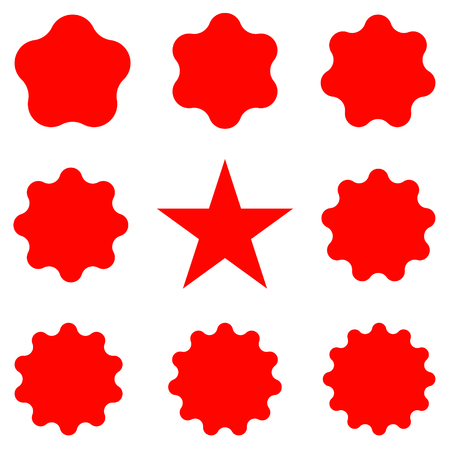 Best for sale sticker, price label, quality sign. Red Postal stamps and postmarks. Collection different starburst. Set sunburst badges
