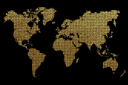 Creative gold map of the world. Vector illustration. Golden template design for media design and business infographic, website, design, cover, annual reports. Earth Graph World map. Illustration