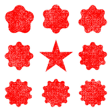 Collection retro stars shapes. Set rays design elements, grunge texture to create distressed effect. Red sparkles. Best for sale sticker, price label, quality sign. Vintage postal stamps and postmarks Illustration