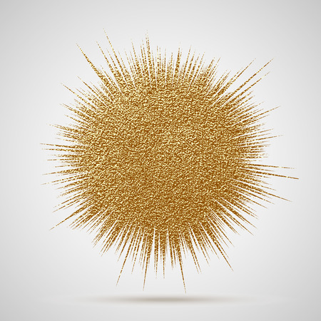 Explosion vector illustration. Sun ray or star burst element with sparkles. Gold Christmas element for greeting cards, posters. Golden glow glitter. Light rays effect.