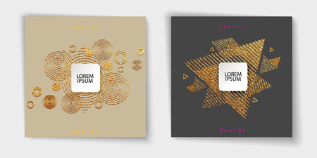 Abstract gold glitter geometric vector background. Trendy modern and stylish set with minimal design for poster, cover, card, brochure, banner. Cool pattern.