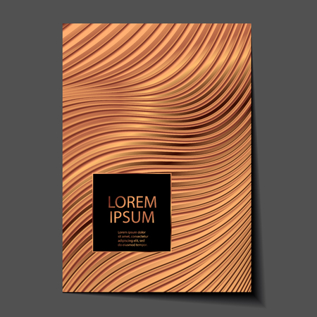 Abstract copper glossy texture. Glitter geometric vector background. Bronze metal trendy modern and stylish minimal design for poster, cover, card, brochure, banner. Cool pattern.