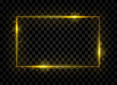 Banner de rectángulo brillante dorado. Efectos de luces doradas. Marco de la chispa. Aislado en el fondo transparente negro. Ilustración vectorial Foto de archivo - 89998563