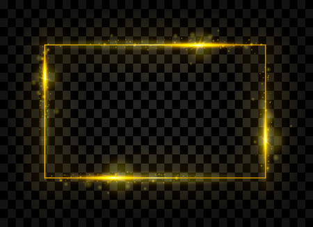 Gold shining rectangle banner. Golden lights effects. Sparkle frame. Isolated on black transparent background. Vector illustration