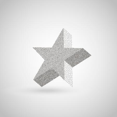 ポイントの幾何学的な図は。ドットの半音の幾何学的図形。ハーフトーン ベクトル イラスト。3 D スター