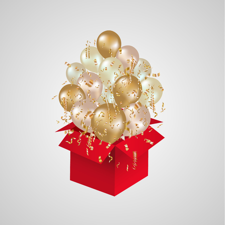 Open red gift box and departing balloons with confetti. Christmas background. Prize winning. Vector illustration.