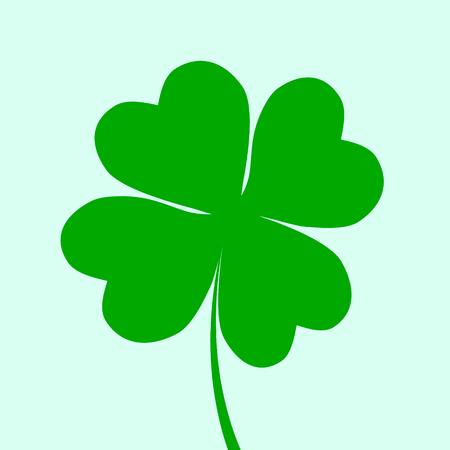 Irish holiday. Saint Patricks day. Leaves clover. Vector illustration. Irish shamrock. St. Patrick s day symbol. Four leaf icon.