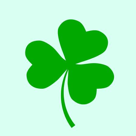 Irish holiday. Saint Patricks day. Leaves clover. Vector illustration. Irish shamrock. St. Patrick s day symbol. Three leaf icon.
