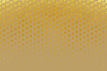 Abstract Gold Geometric Pattern. Hexagon Halftone Random Vector Illustration. Hexagonal Pattern. Golden Falling Hexagons