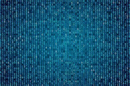 Abstracte blauwe technische achtergrond. Element binaire computercode. Hacker programmeren, codering, vector illustratie. Firewall-matrix.