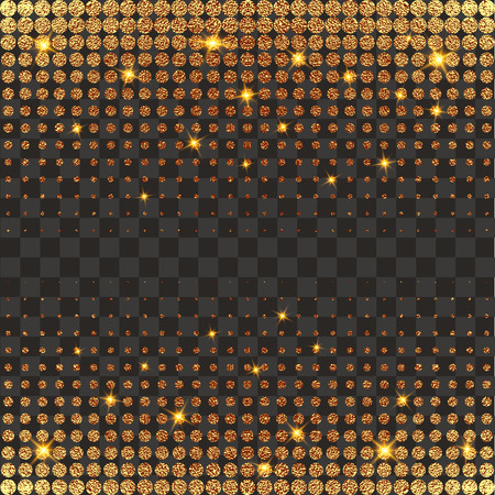 Gold, glitter abstract background. Cool pattern. Patina golden elements. . Halftone sparkles on dark background. Creative invitation for new year, wedding, birthday. Trendy modern vector illustration.